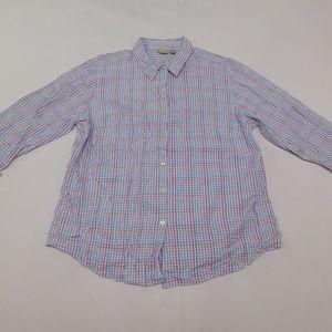 LL Bean XL Purple Black Button Down Top  Cotton